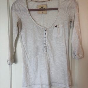 White Hollister 3/4 Sleeve Top